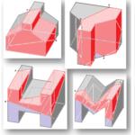 Vier verschiedene Körper in jeweils einem Würfel
