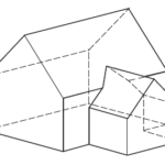 Dachverschneidung eines symmetrischen Anbaus