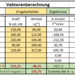 Excel-Berechnungstabelle für Vektoren